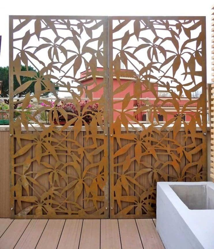 Sichtschutzzaun Metall Garten Cortenstahl