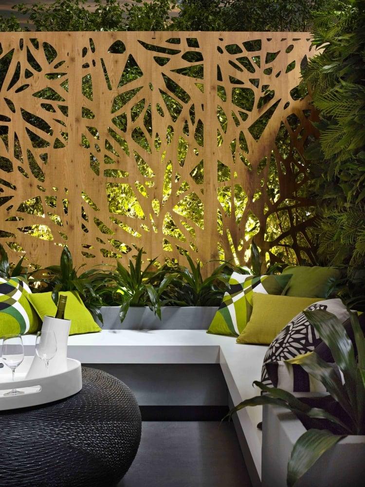 Sitzecke Garten Zaun aus Cortenstahl