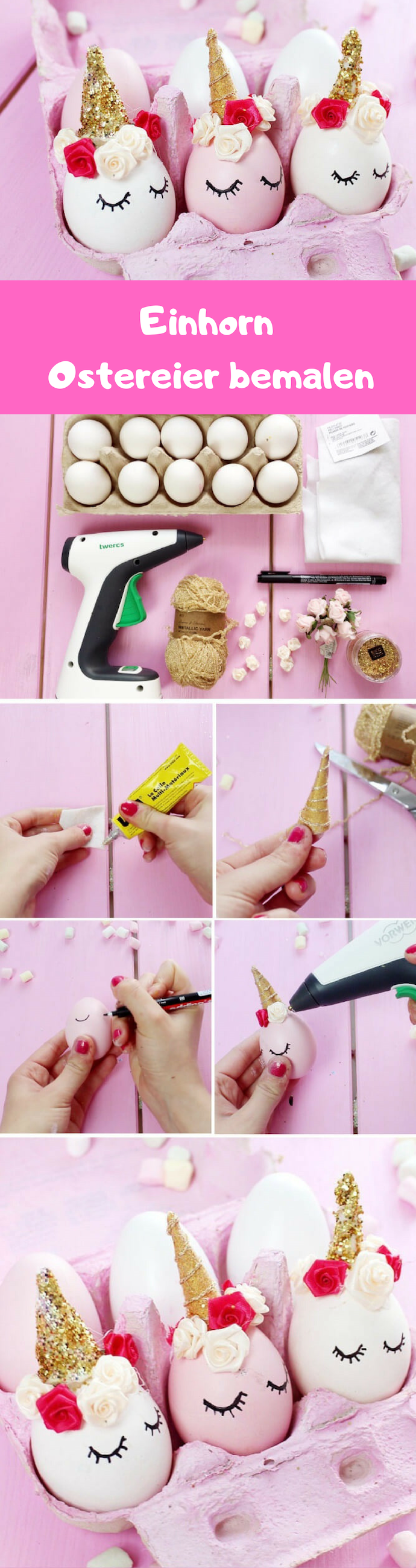 Ostereier bemalen wie ein Einhorn - DIY Anleitung