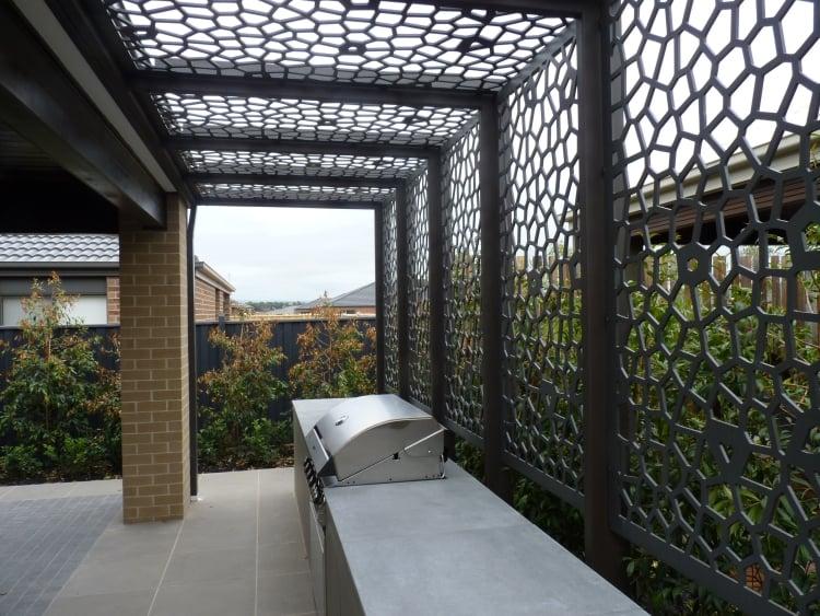 Küche Außenbereich Sichtschutz Stahlprofilen