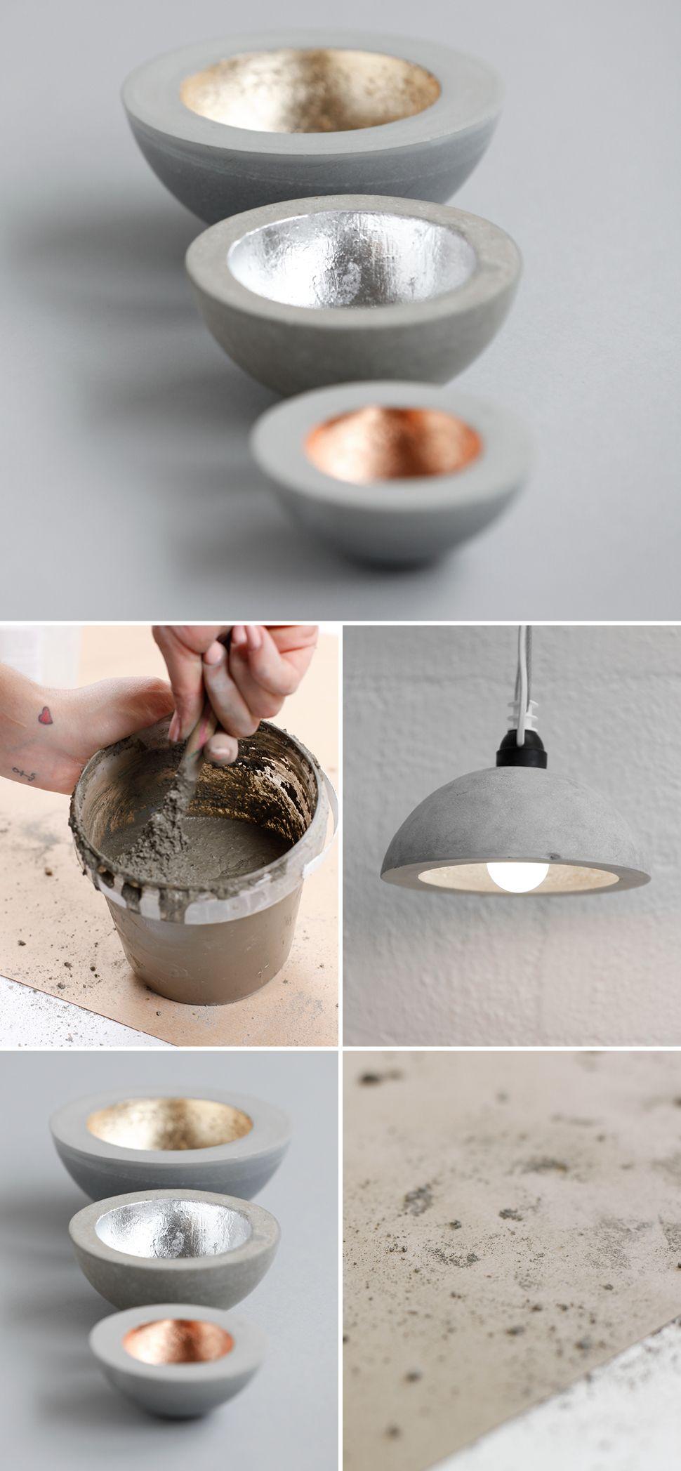 Betonlampe mit Kupfer Gold und Silber selber machen