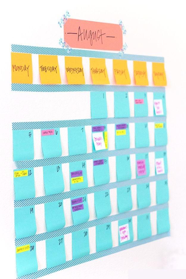 Kalender Selber Basteln mit Haftnotizen