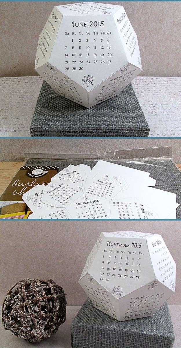 Kalender selber basteln aus 12 Ecken