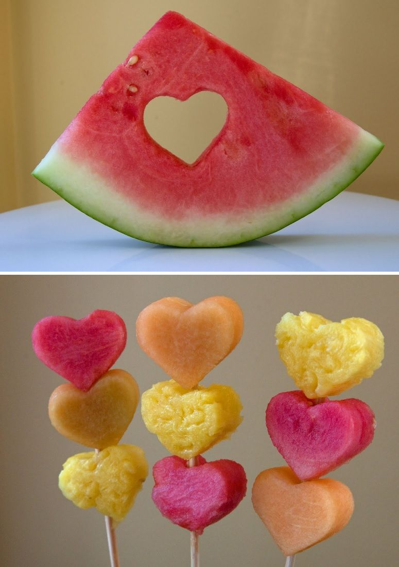 Оbstspieße Кinder - Fruchtspieße in Form eines Herzen machen