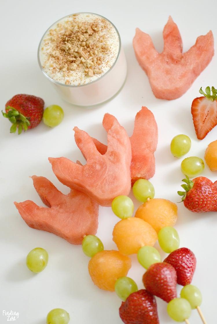 Obstspieße für Kinder oder für Geburtstag - Dino Wassermelone