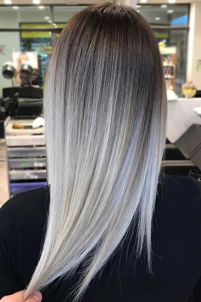 Ombre Grau - graue Haarfarbe für glatte Haare