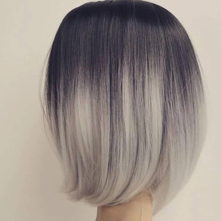 Schwarze Haare mit Ombre Look - Ombre Grau