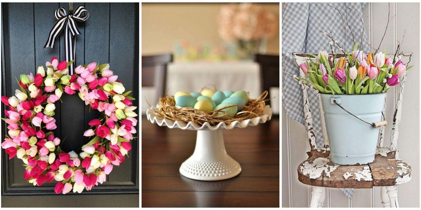 Osterdeko Garten: Dekoration mit Tulpen