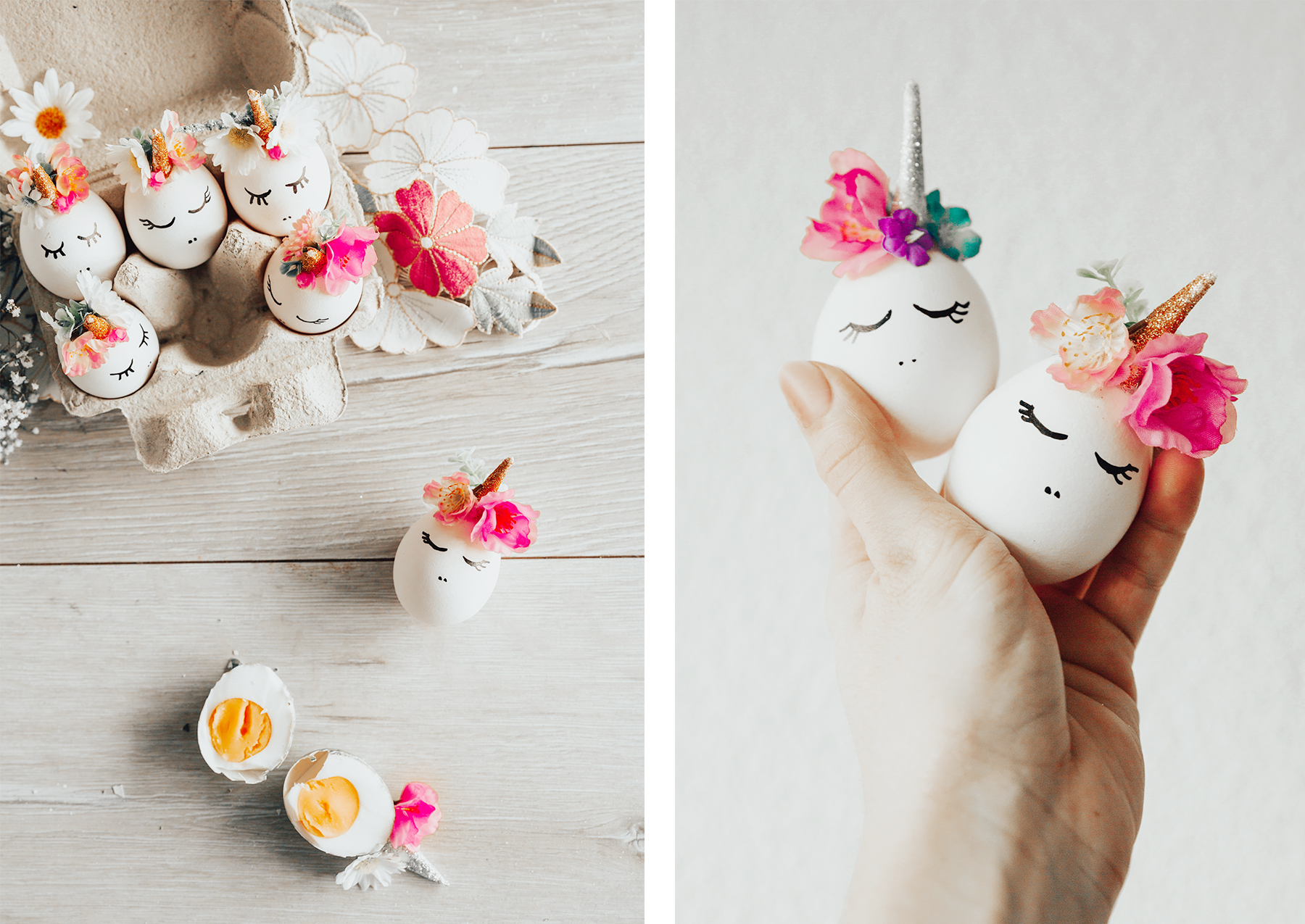 Einhorn Ostereier bemalen - Ostereier verzieren mit Blumen