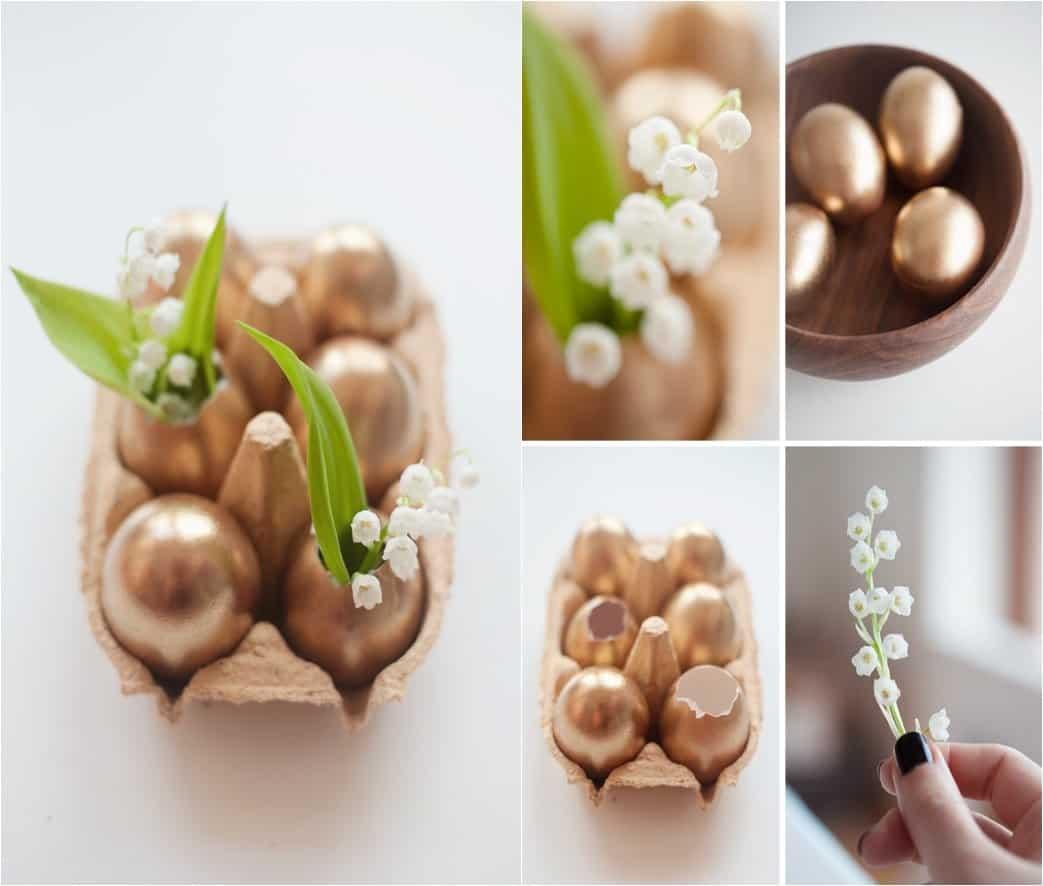 Ostertischdeko mit Eier mit Kupferfarbe