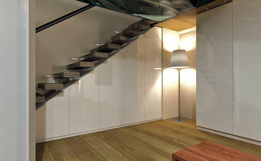 Schrank unter Treppe schwebend Glastüren