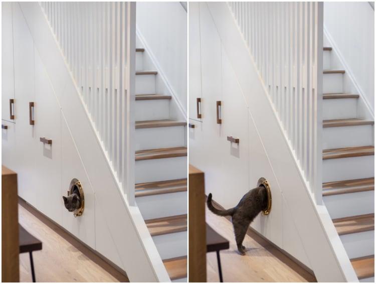 Schrank unter Treppe Platz für die Katze