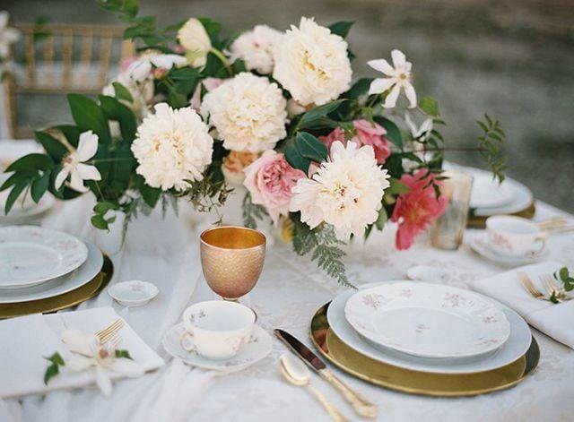 Tischdeko Frühling in rosa Gold