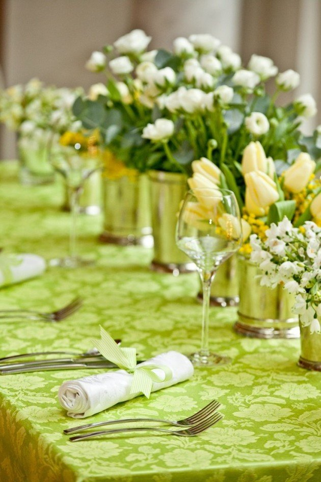 Tischdeko Frühling in frischen Farben