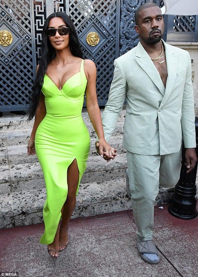 neongelbes sexy Kleid Kim Kardashian