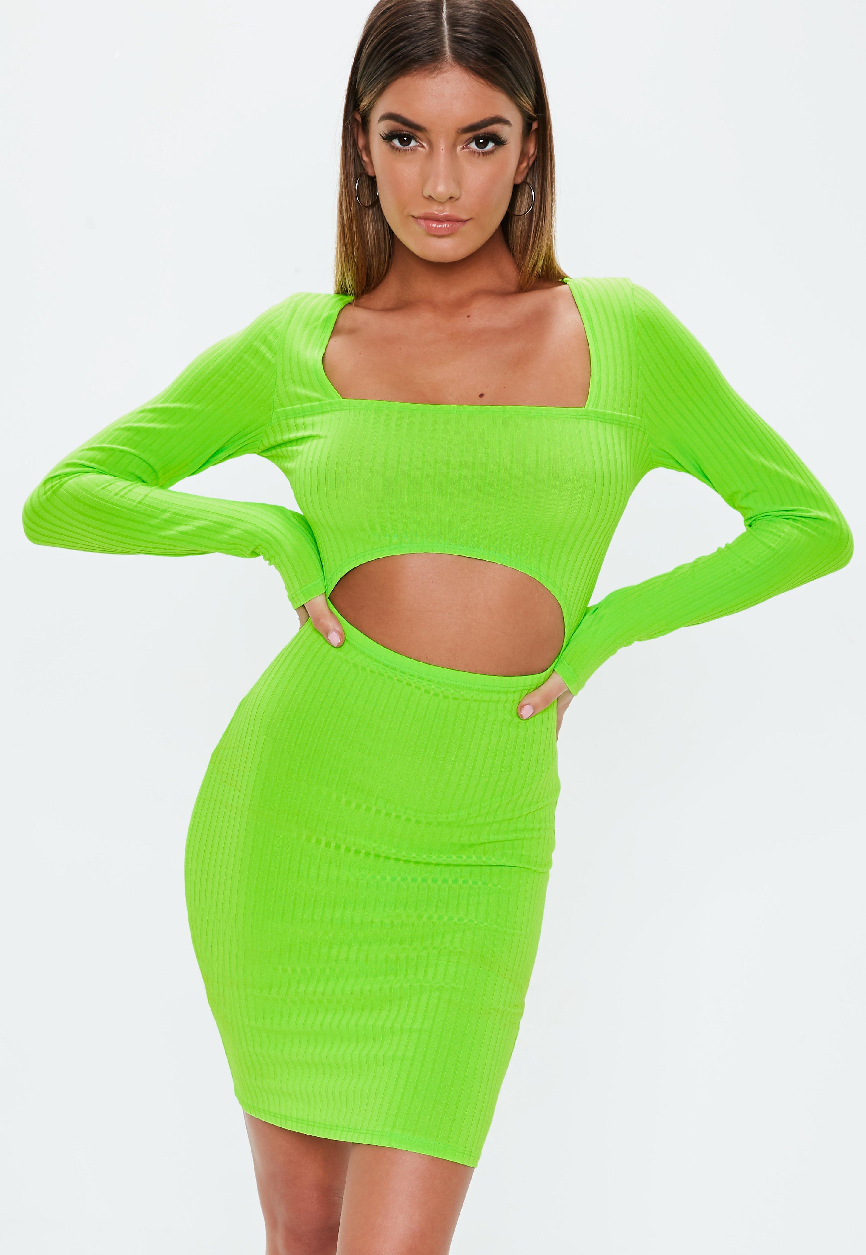 elegantes Kleid in Neongrün