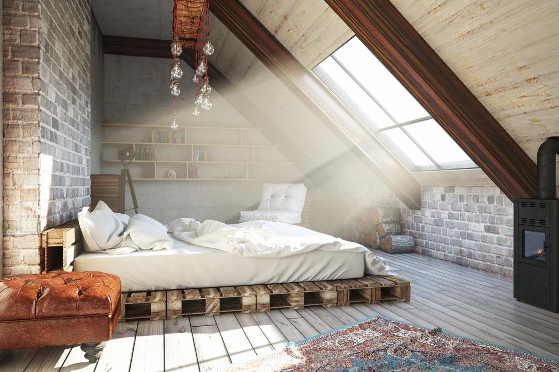 Schlafzimmer Dachgeschoss Palettenbett