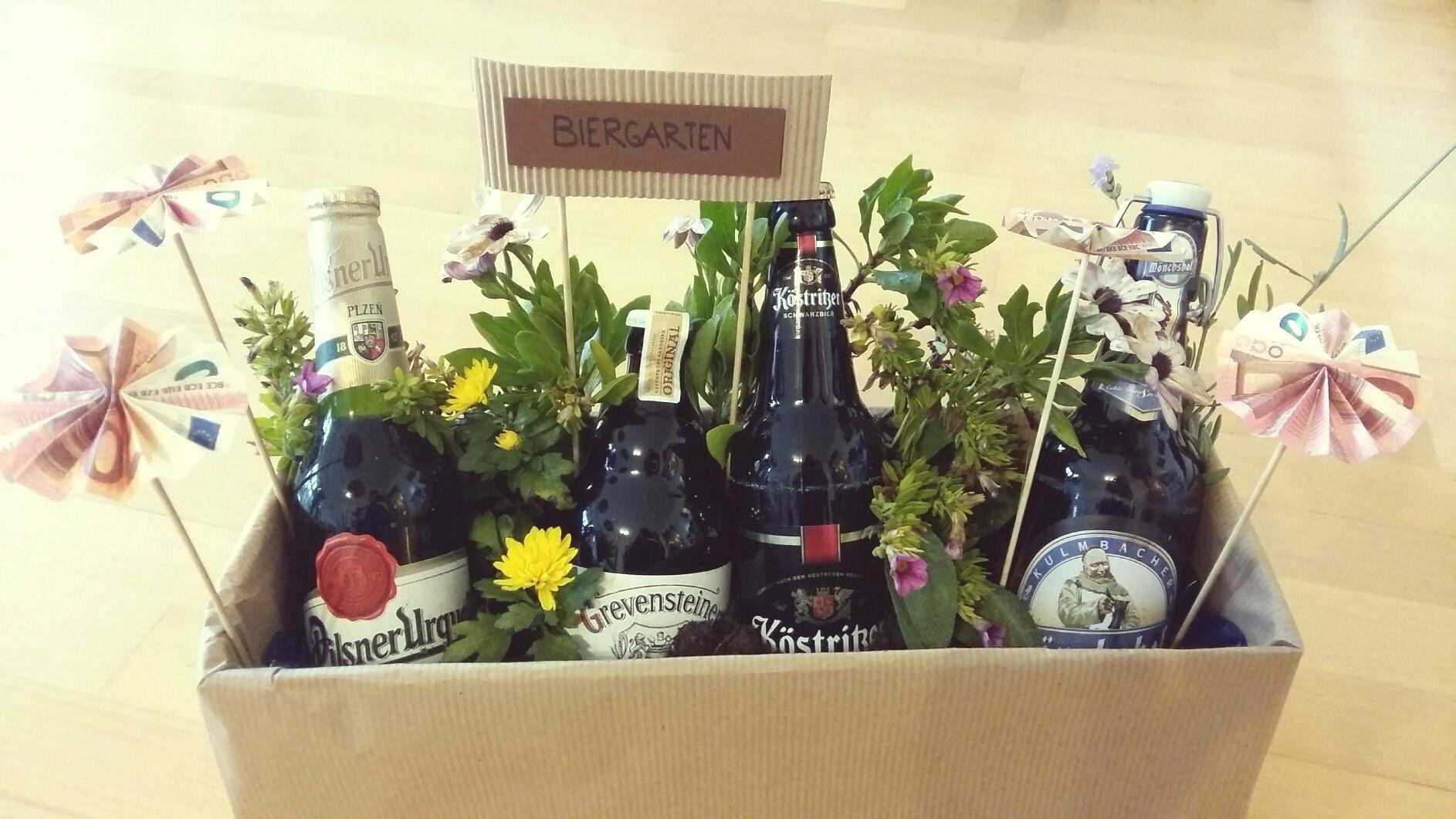 Geburtstagsgeschenk Mann - Biergarten basteln DIY Ideen