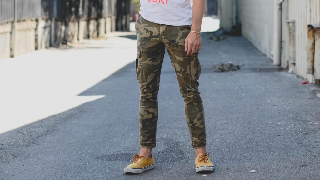 Cargohose in Khaki Farbe Männermode