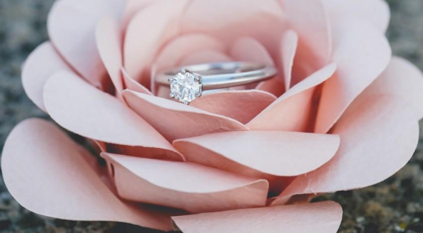 Hochzeitsantrag den Ring in Rose verstecken