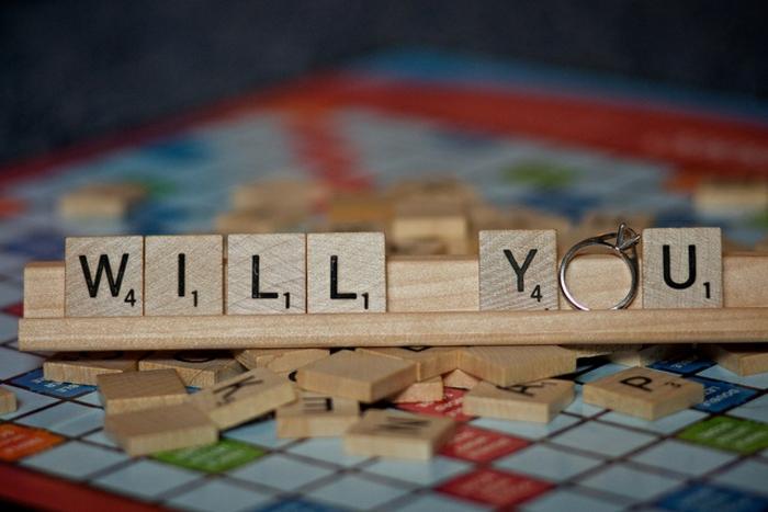 Hochzeitsantrag machen Scrabble