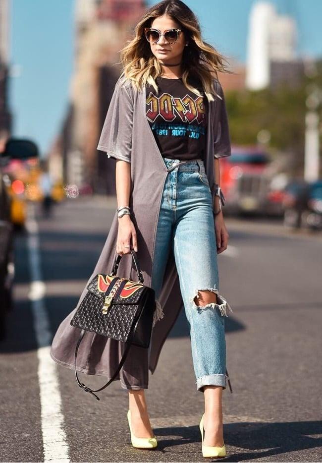 High Waisted Jeans mit T-Shirt kombinieren