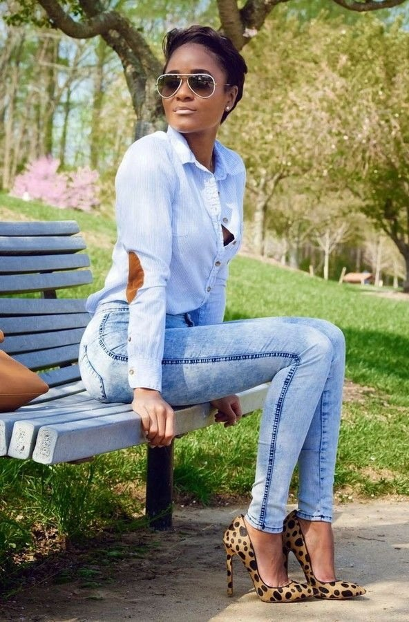 High Waist Jeans mit Leopardenmuster Accessoires