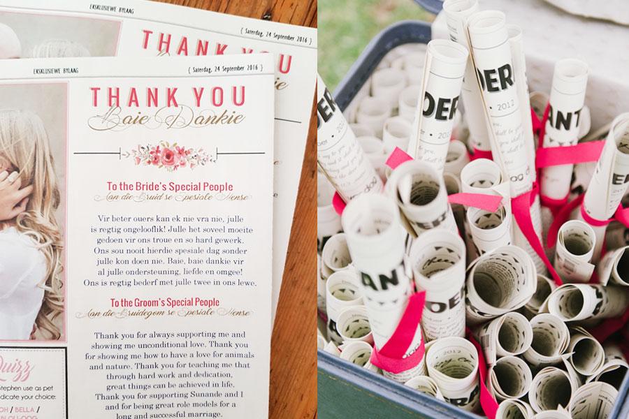Hochzeitszeitung Ideen als Hochzeitsgeschenke gestalten