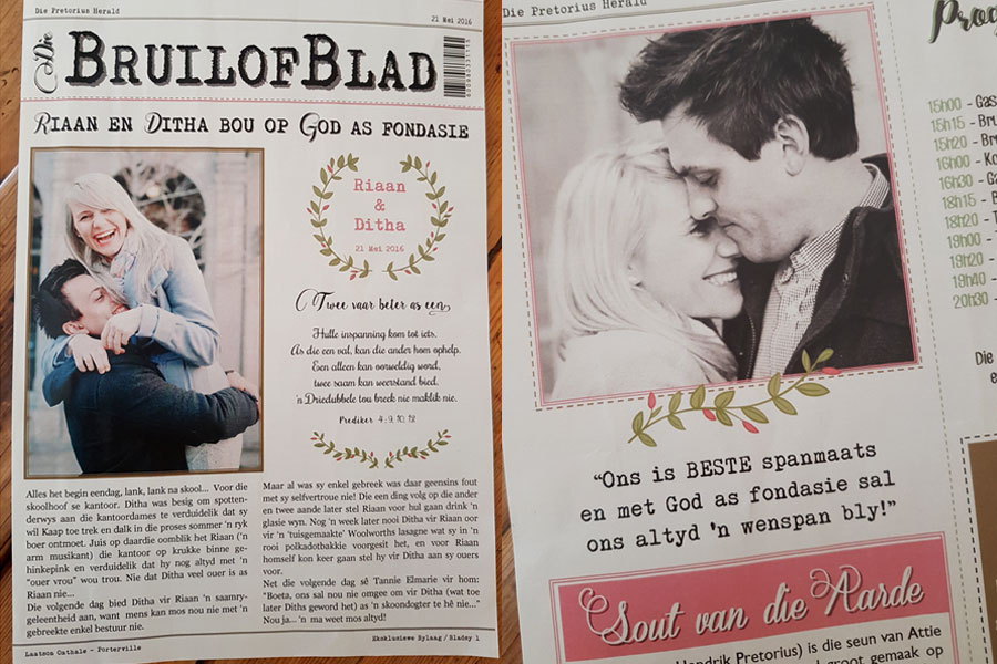 Hochzeitszeitung Ideen für eine DIY Hochzeit