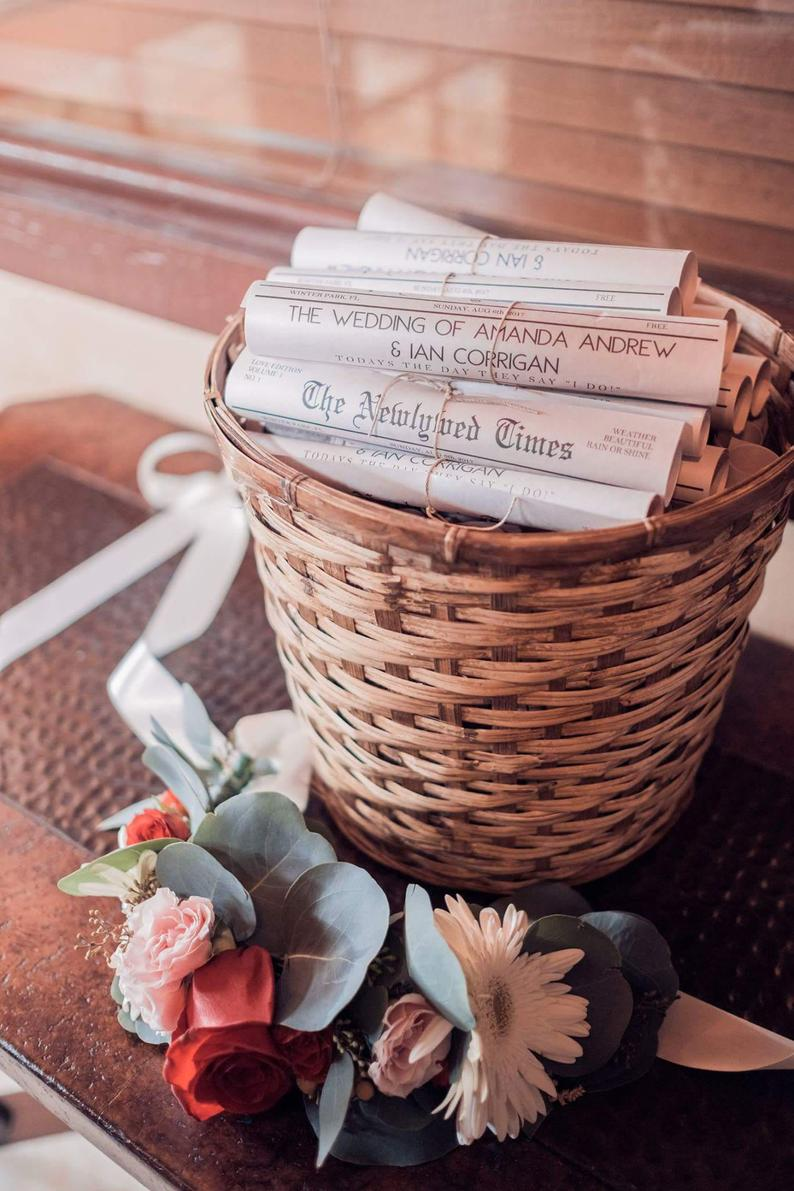 Hochzeitszeitung Ideen als DIY Deko Ideen für Hochzeit
