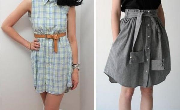 Kleid oder Rock aus altem Hemd basteln