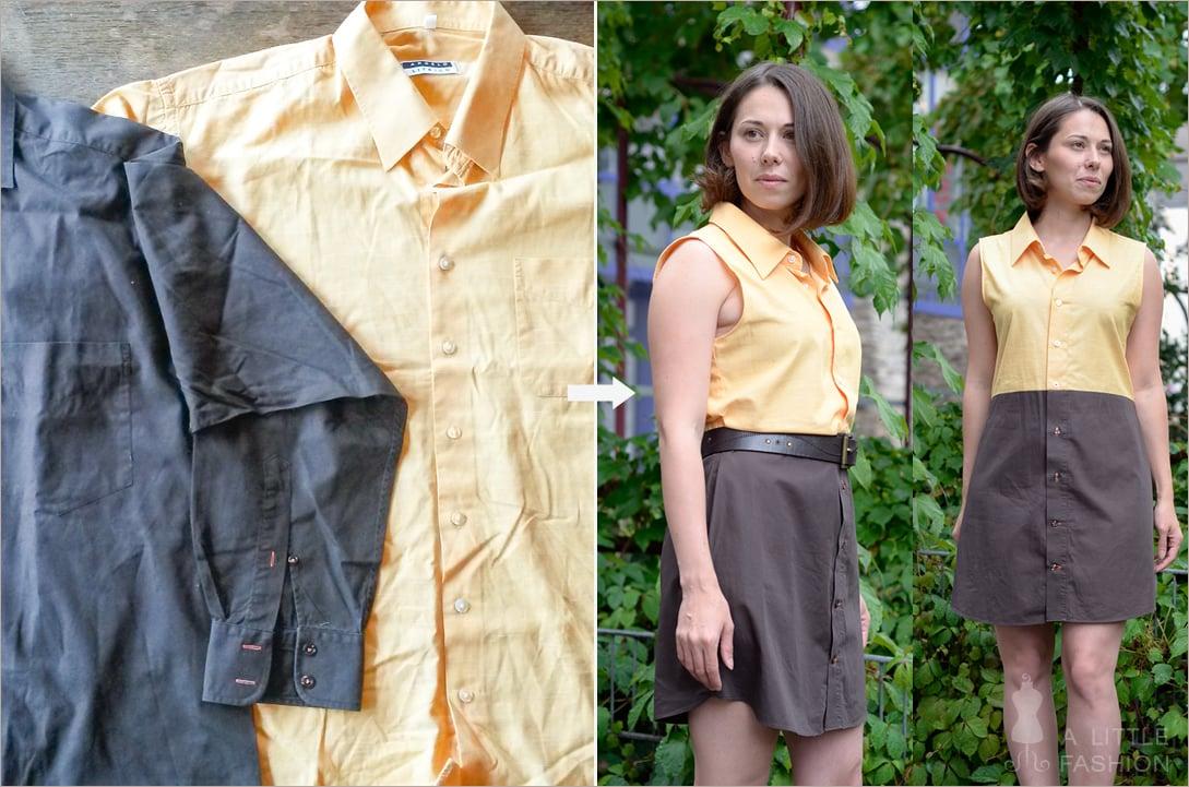 Kleid aus zwei Teilen alte Herrenhemden