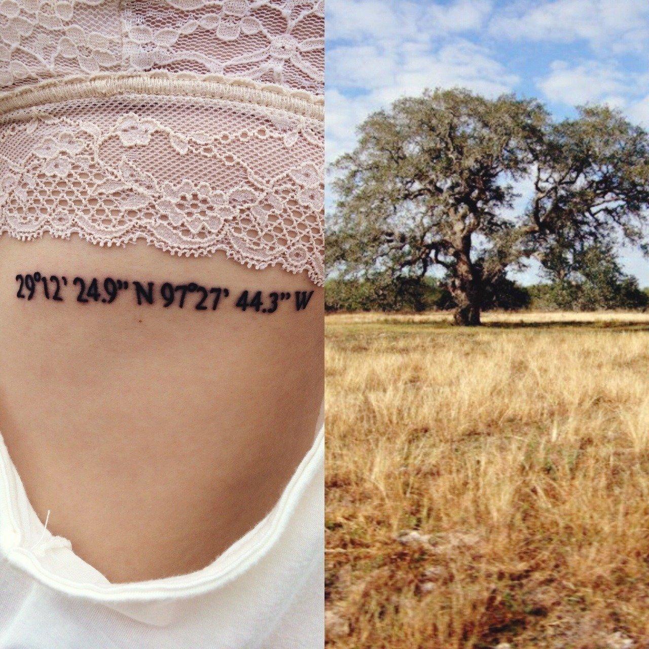 Frauen Tattoo Rücken Tattoo Koordinaten Tattoo
