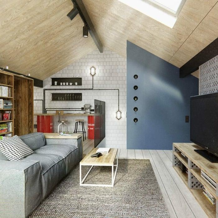 Wohnung Dachgeschoss Wohnzimmer Raumteiler