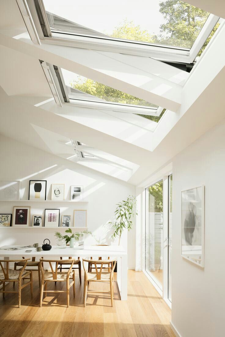 Wandfarbe Weiß große Dachfenster