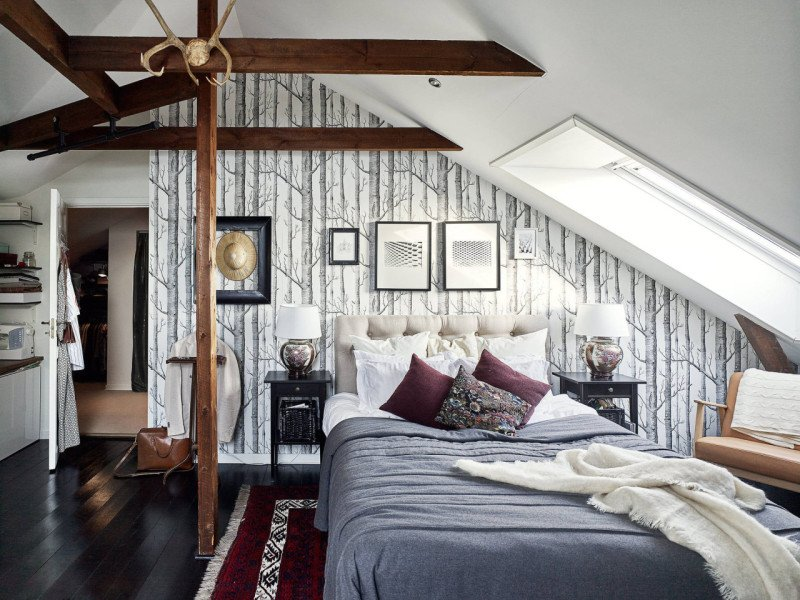 Mansarde Schlafzimmer Wandgestaltung Tapeten