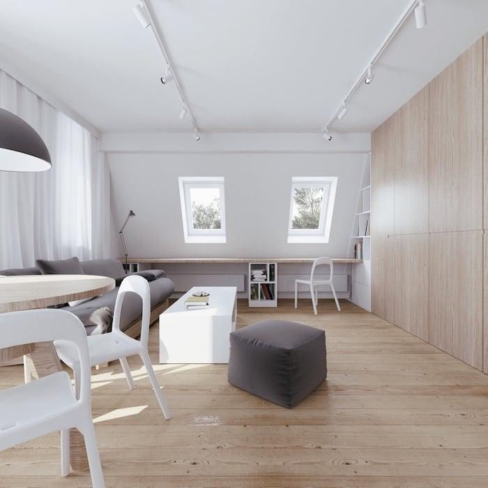 Mansarde Einrichtungsideen Farbgestaltung weiß grau