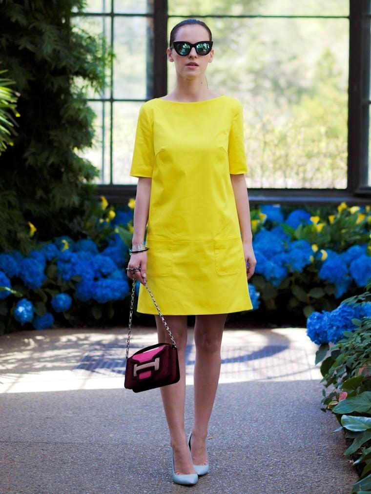 Neonfarben Gelb Sommerkleid