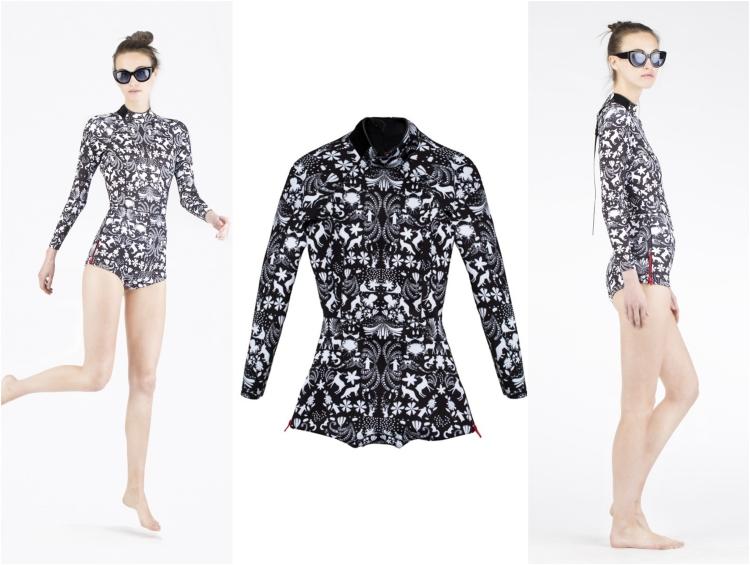 elegante Surfbekleidung in Schwarz und Weiß