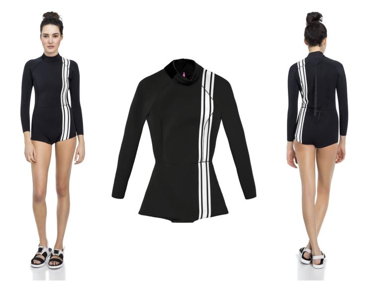 Surfbekleidung Damen schwarz weiße Streifen