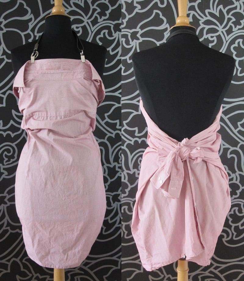 herrliches Sommerkleid nähen in rosa altes Hemd