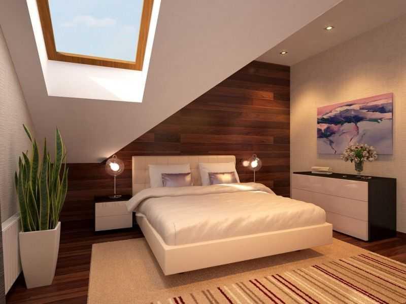 Mansarde Einrichtungsideen Schlafzimmer Holzwand