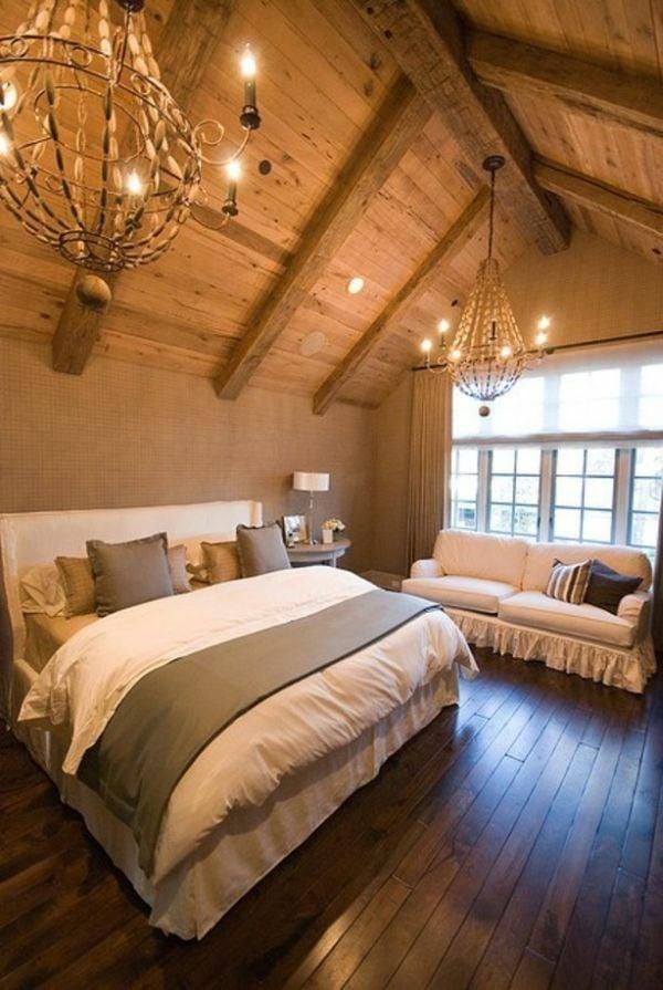 Mansarde Einrichtungsideen Schlafzimmer Luxus Kronleuchter
