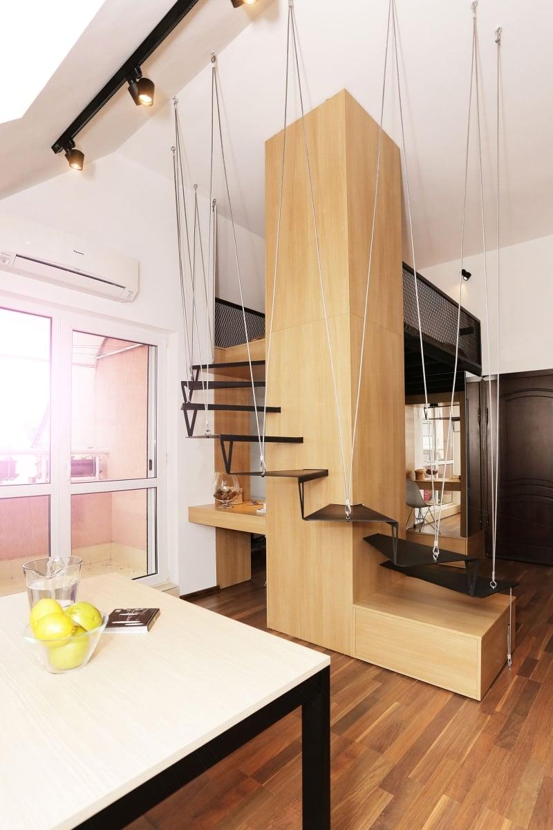 Mansarde Einrichtungsideen schwebende Treppe