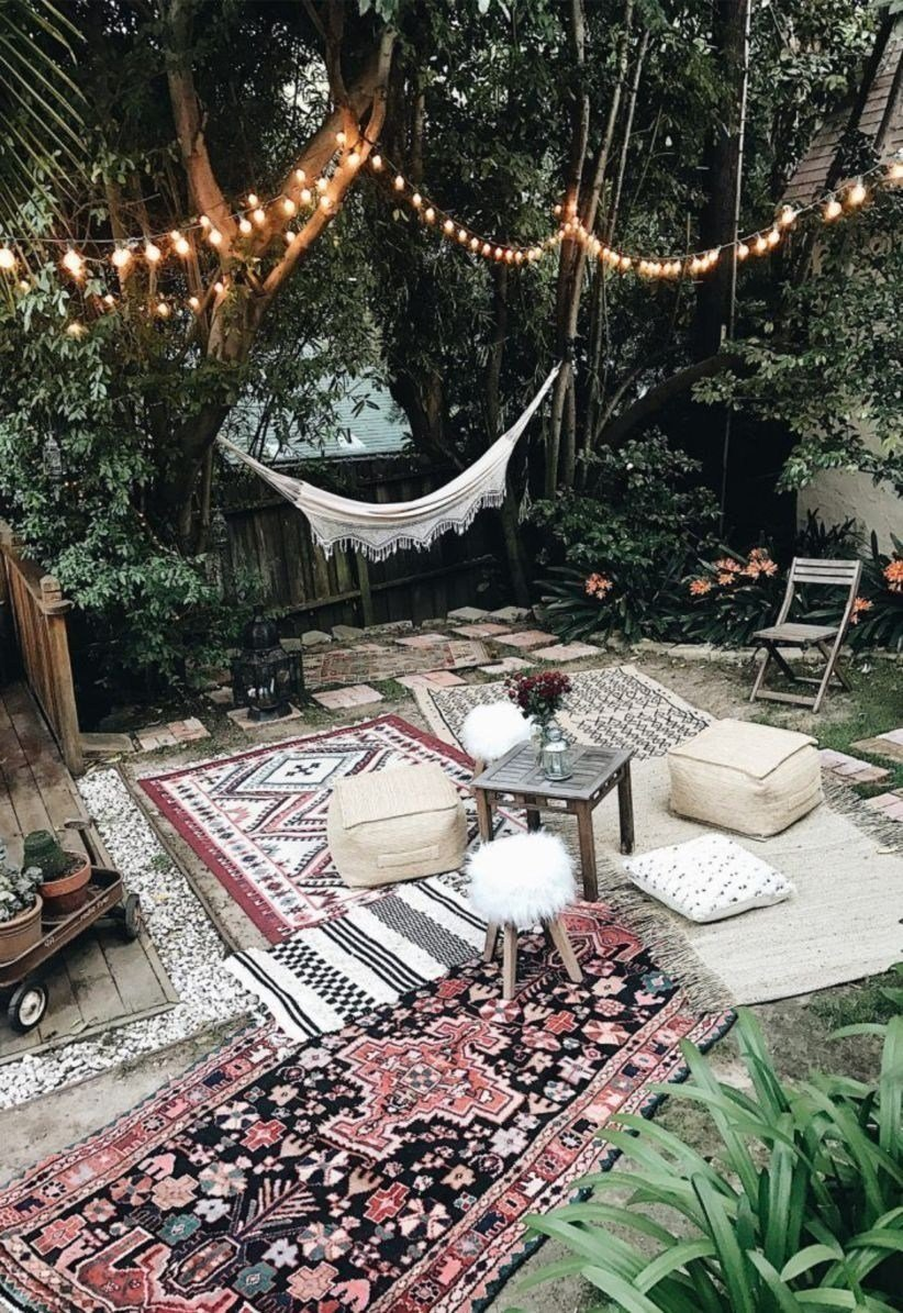 Shabby Garten gestalten in Boho Stil