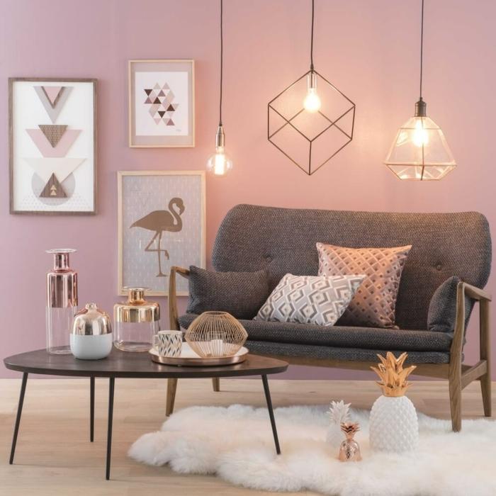 Wandfarbe Altrosa mit Holz kombinieren für modernes Wohnzimmer