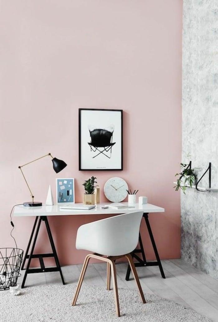 Wandfarbe Altrosa skandinavische Office Raumgestaltung