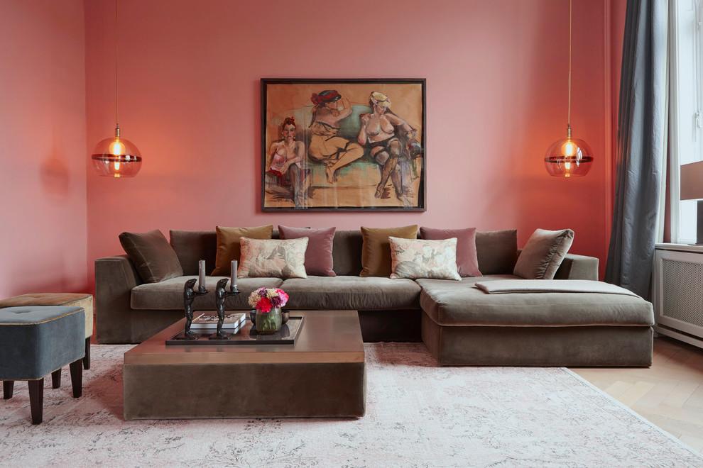 Wandfarbe Altrosa - rustikales Wohnzimmer gestalten