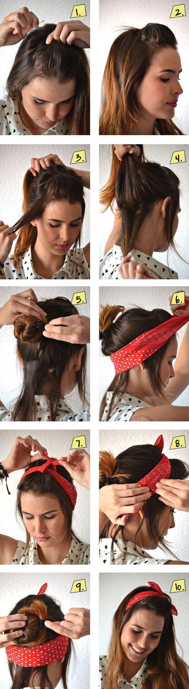 stilvolle Frisur offen Kopftuch Anleitung