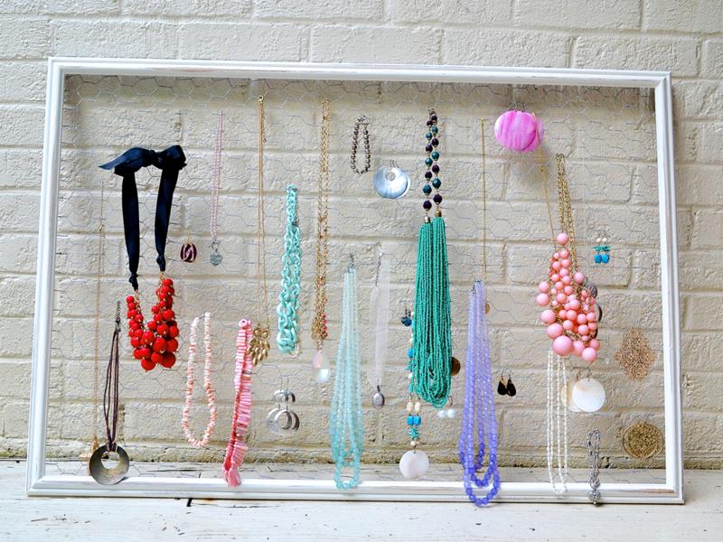 Schmuckaufbewahrung selber machen Halsketten Ohrringe